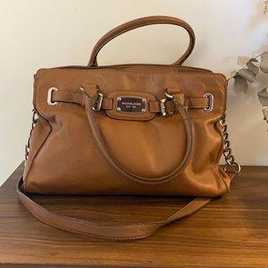 Michael Kors Hamilton Handbag Camel & Stainless